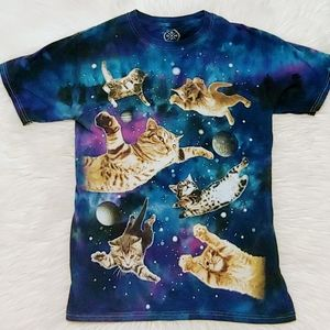 Cats in Space Funny Cat Lover Tee Shirt As Small